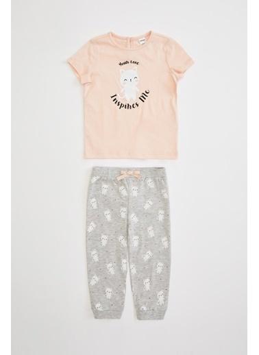 DeFacto Kız Bebek Baskılı Pijama Takımı Pembe